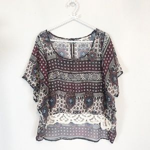 Sundance Hi Low Boho Peasant Top sz XL